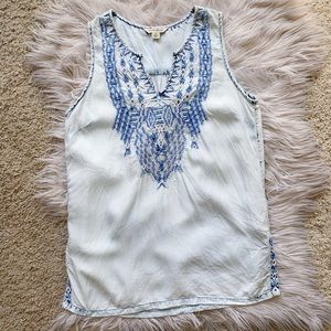 Lucky Brand Elaborately Embroidered Acid Wash Tank